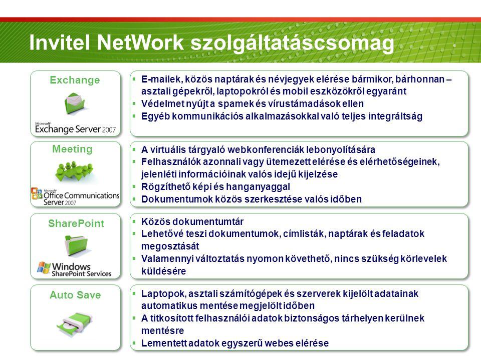6 Invitel NetWork szolgáltatáscsomag Auto Save  Laptopok, asztali számítógépek és szerverek kijelölt adatainak automatikus mentése megjelölt időben 