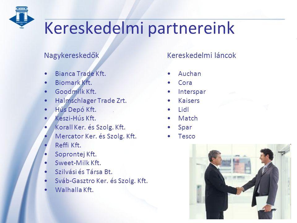 Kereskedelmi partnereink Nagykereskedők Bianca Trade Kft. Biomark Kft. Goodmilk Kft. Halmschlager Trade Zrt. Hús Depó Kft. Keszi-Hús Kft. Korall Ker.