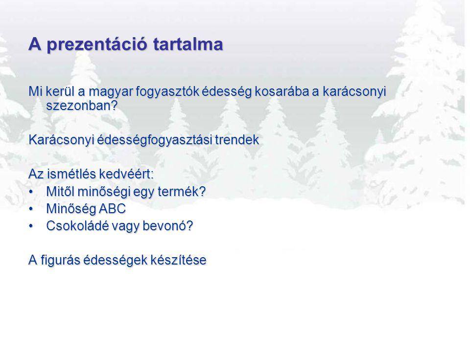 A prezentáció tartalma Mi kerül a magyar fogyasztók édesség kosarába a karácsonyi szezonban? Karácsonyi édességfogyasztási trendek Az ismétlés kedvéér