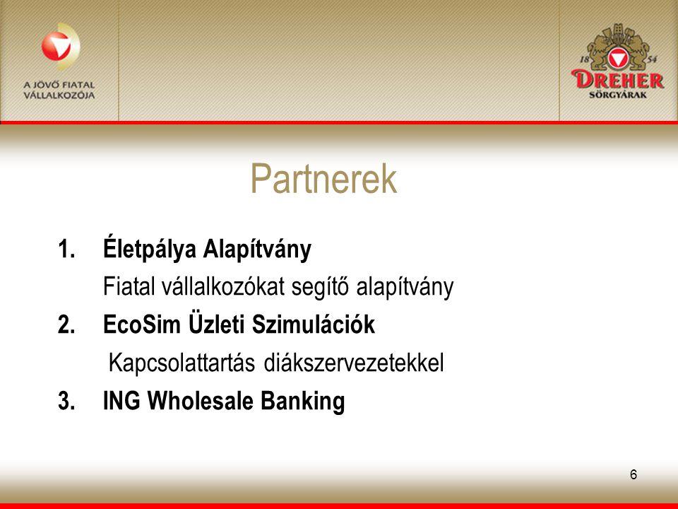 6 Partnerek 1.Életpálya Alapítvány Fiatal vállalkozókat segítő alapítvány 2.EcoSim Üzleti Szimulációk Kapcsolattartás diákszervezetekkel 3.