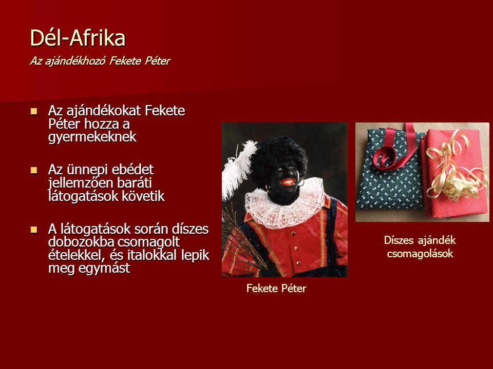 Dél-Afrika Az ajándékhozó Fekete Péter Az ajándékokat Fekete Péter hozza a gyermekeknek Az ajándékokat Fekete Péter hozza a gyermekeknek Az ünnepi ebé