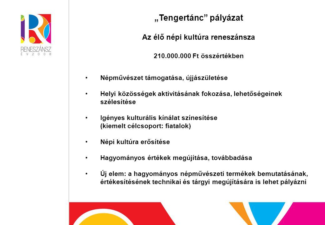 """""""Tengertánc pályázat Az élő népi kultúra reneszánsza 210.000.000 Ft összértékben Népművészet támogatása, újjászületése Helyi közösségek aktivitásának fokozása, lehetőségeinek szélesítése Igényes kulturális kínálat színesítése (kiemelt célcsoport: fiatalok) Népi kultúra erősítése Hagyományos értékek megújítása, továbbadása Új elem: a hagyományos népművészeti termékek bemutatásának, értékesítésének technikai és tárgyi megújítására is lehet pályázni"""