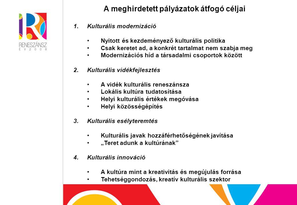 """A meghirdetett pályázatok átfogó céljai 1.Kulturális modernizáció Nyitott és kezdeményező kulturális politika Csak keretet ad, a konkrét tartalmat nem szabja meg Modernizációs híd a társadalmi csoportok között 2.Kulturális vidékfejlesztés A vidék kulturális reneszánsza Lokális kultúra tudatosítása Helyi kulturális értékek megóvása Helyi közösségépítés 3.Kulturális esélyteremtés Kulturális javak hozzáférhetőségének javítása """"Teret adunk a kultúrának 4.Kulturális innováció A kultúra mint a kreativitás és megújulás forrása Tehetséggondozás, kreatív kulturális szektor"""