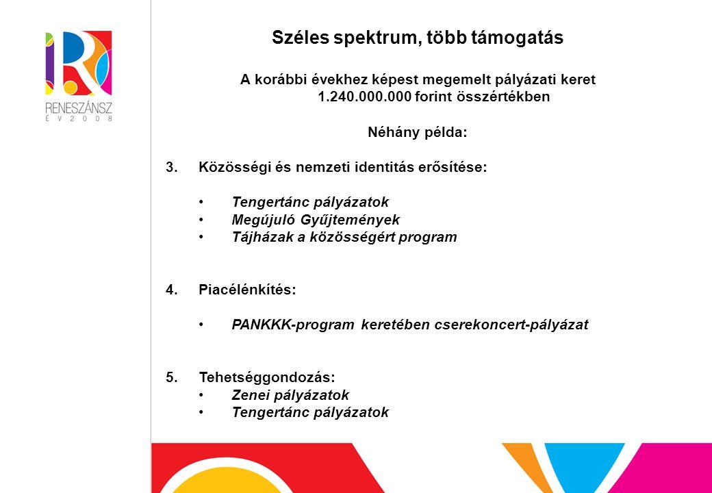 Széles spektrum, több támogatás A korábbi évekhez képest megemelt pályázati keret 1.240.000.000 forint összértékben Néhány példa: 3.Közösségi és nemzeti identitás erősítése: Tengertánc pályázatok Megújuló Gyűjtemények Tájházak a közösségért program 4.Piacélénkítés: PANKKK-program keretében cserekoncert-pályázat 5.Tehetséggondozás: Zenei pályázatok Tengertánc pályázatok
