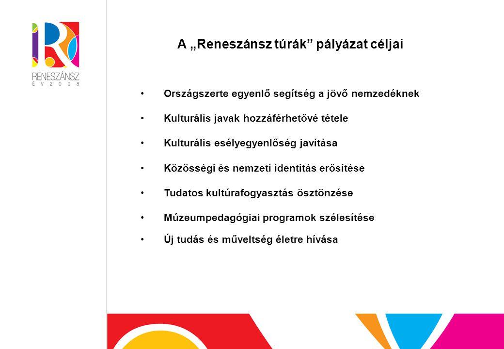"""A """"Reneszánsz túrák pályázat céljai Országszerte egyenlő segítség a jövő nemzedéknek Kulturális javak hozzáférhetővé tétele Kulturális esélyegyenlőség javítása Közösségi és nemzeti identitás erősítése Tudatos kultúrafogyasztás ösztönzése Múzeumpedagógiai programok szélesítése Új tudás és műveltség életre hívása"""