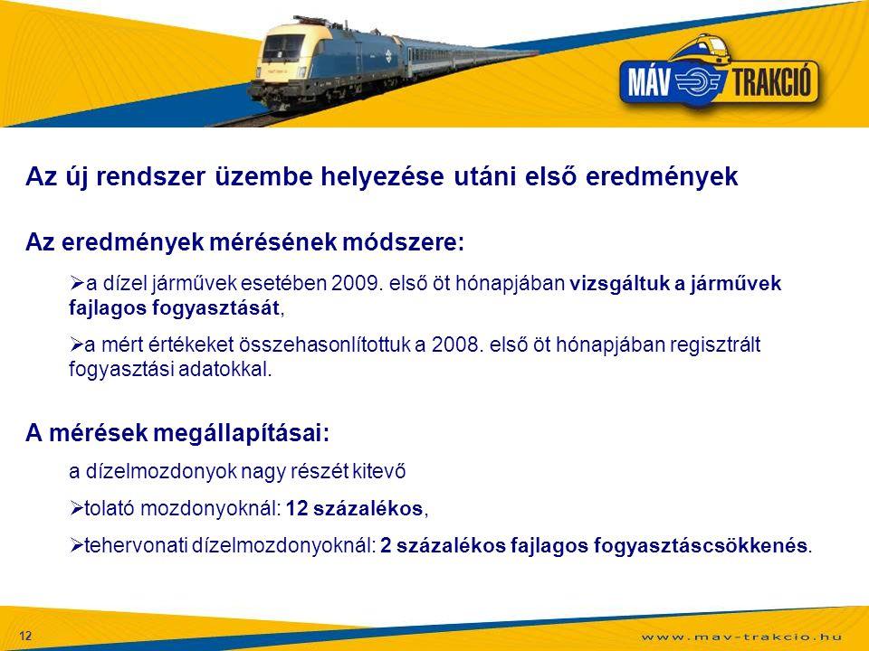 12 Az új rendszer üzembe helyezése utáni első eredmények Az eredmények mérésének módszere:  a dízel járművek esetében 2009. első öt hónapjában vizsgá