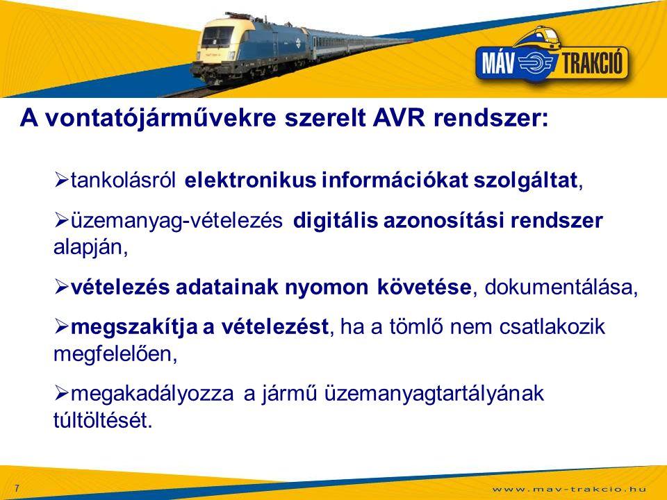 7 A vontatójárművekre szerelt AVR rendszer:  tankolásról elektronikus információkat szolgáltat,  üzemanyag-vételezés digitális azonosítási rendszer