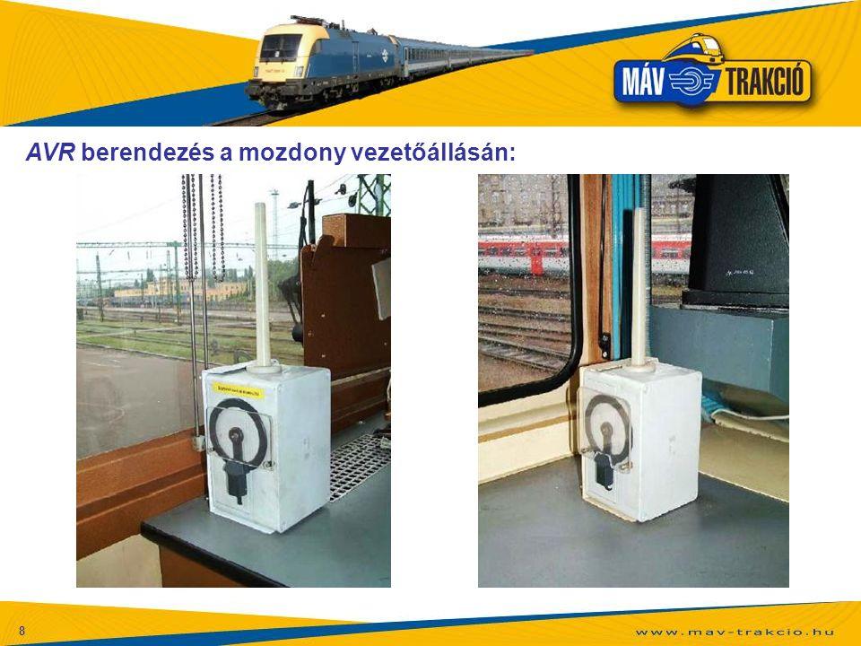 8 AVR berendezés a mozdony vezetőállásán: