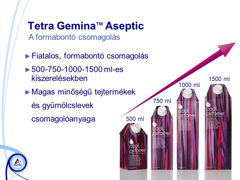 Tetra Gemina TM Aseptic ► Fiatalos, formabontó csomagolás ► 500-750-1000-1500 ml-es kiszerelésekben ► Magas minőségű tejtermékek és gyümölcslevek csomagolóanyaga 500 ml A formabontó csomagolás 1000 ml 750 ml 1500 ml