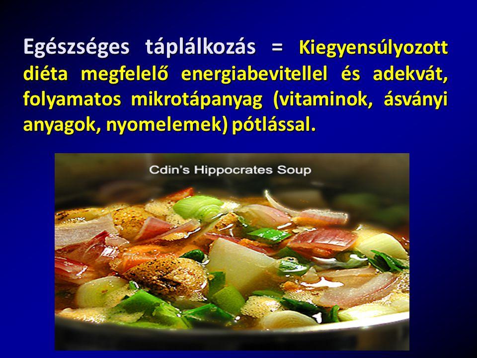 Egészséges táplálkozás = Kiegyensúlyozott diéta megfelelő energiabevitellel és adekvát, folyamatos mikrotápanyag (vitaminok, ásványi anyagok, nyomelemek) pótlással.