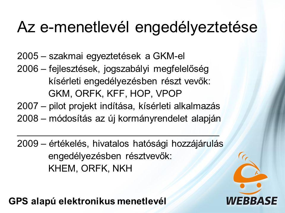 Az e-menetlevél engedélyeztetése 2005 – szakmai egyeztetések a GKM-el 2006 – fejlesztések, jogszabályi megfelelőség kísérleti engedélyezésben részt vevők: GKM, ORFK, KFF, HOP, VPOP 2007 – pilot projekt indítása, kísérleti alkalmazás 2008 – módosítás az új kormányrendelet alapján ______________________________________ 2009 – értékelés, hivatalos hatósági hozzájárulás engedélyezésben résztvevők: KHEM, ORFK, NKH GPS alapú elektronikus menetlevél