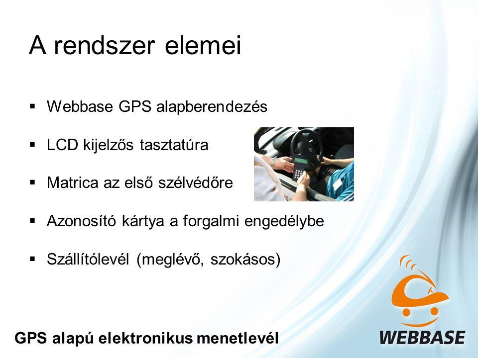 A rendszer elemei  Webbase GPS alapberendezés  LCD kijelzős tasztatúra  Matrica az első szélvédőre  Azonosító kártya a forgalmi engedélybe  Szállítólevél (meglévő, szokásos) GPS alapú elektronikus menetlevél