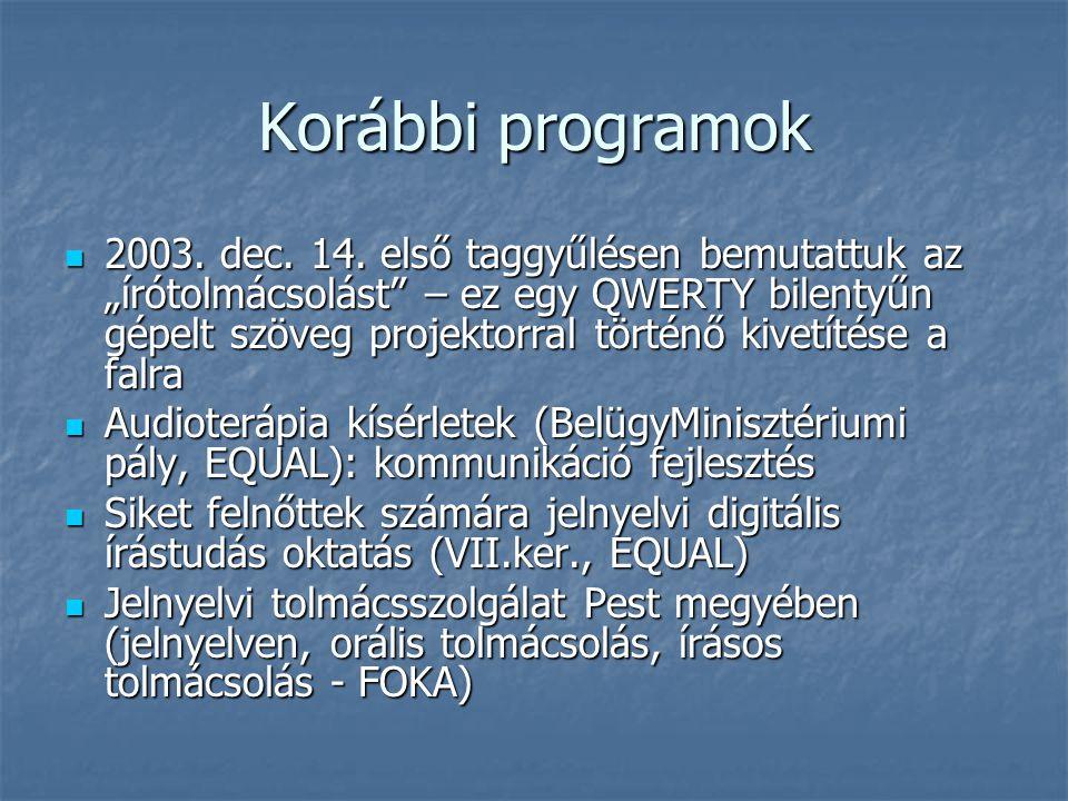 Korábbi programok 2003. dec. 14.
