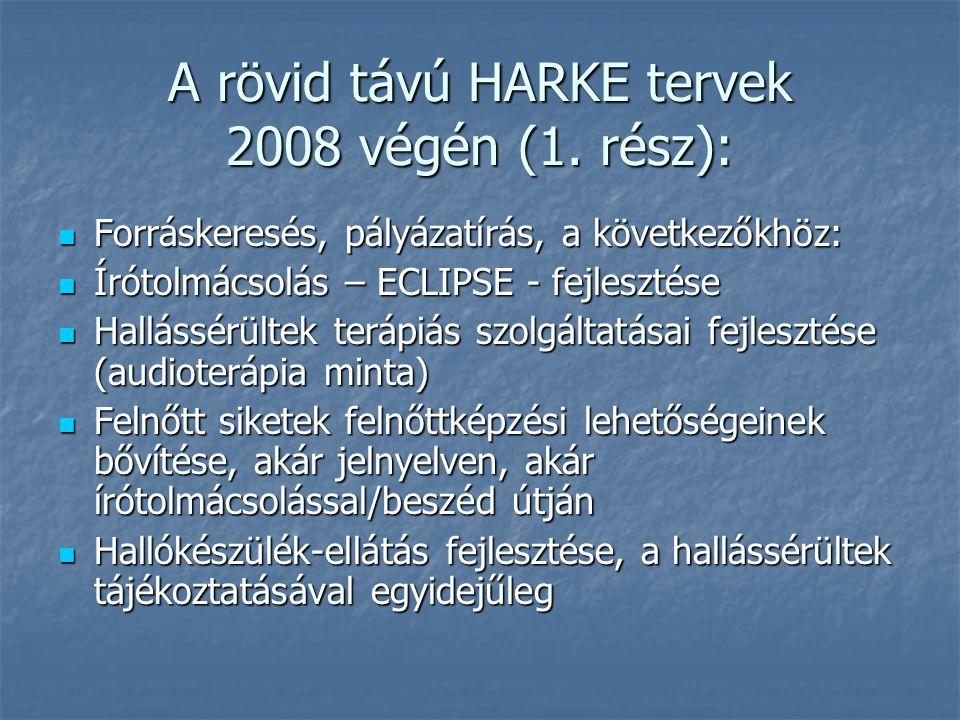 A rövid távú HARKE tervek 2008 végén (1.