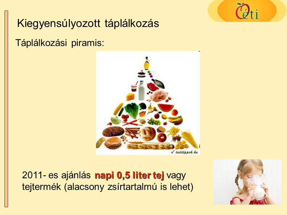 Kiegyensúlyozott táplálkozás Táplálkozási piramis: napi 0,5 liter tej 2011- es ajánlás napi 0,5 liter tej vagy tejtermék (alacsony zsírtartalmú is leh