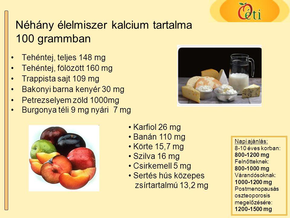 Néhány élelmiszer kalcium tartalma 100 grammban Tehéntej, teljes 148 mg Tehéntej, fölözött 160 mg Trappista sajt 109 mg Bakonyi barna kenyér 30 mg Pet
