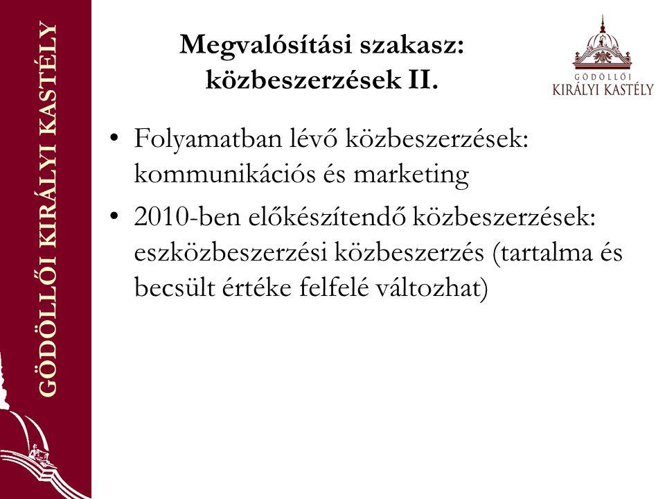 GÖDÖLLŐI KIRÁLYI KASTÉLY Megvalósítási szakasz: közbeszerzések II.