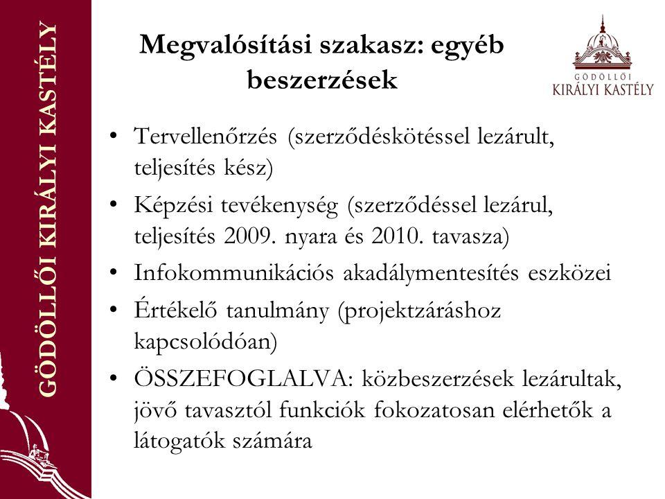 GÖDÖLLŐI KIRÁLYI KASTÉLY Megvalósítási szakasz: egyéb beszerzések Tervellenőrzés (szerződéskötéssel lezárult, teljesítés kész) Képzési tevékenység (szerződéssel lezárul, teljesítés 2009.