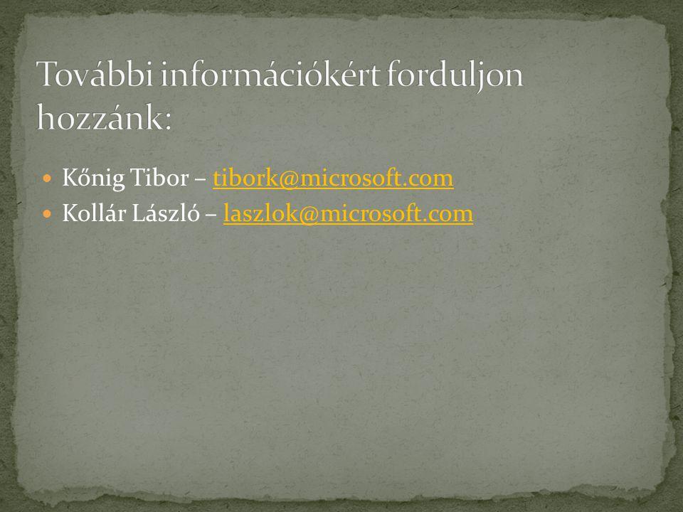 Kőnig Tibor – tibork@microsoft.comtibork@microsoft.com Kollár László – laszlok@microsoft.comlaszlok@microsoft.com