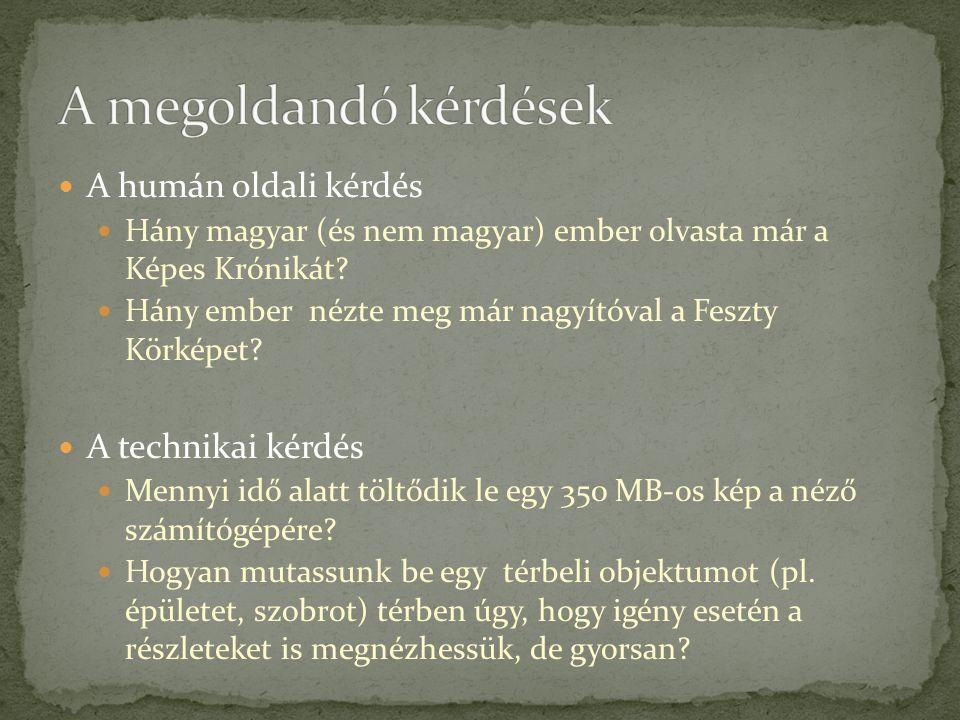 A humán oldali kérdés Hány magyar (és nem magyar) ember olvasta már a Képes Krónikát? Hány ember nézte meg már nagyítóval a Feszty Körképet? A technik