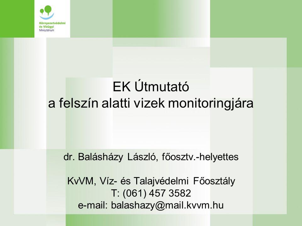 A monitoring feladat EU : 2000/60/EK, 91/676/EGK, 80/68/EGK Útmutató készül (2006.