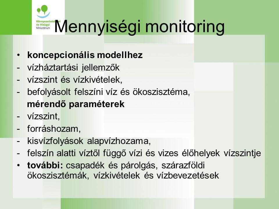 Mennyiségi monitoring koncepcionális modellhez -vízháztartási jellemzők -vízszint és vízkivételek, -befolyásolt felszíni víz és ökoszisztéma, mérendő paraméterek -vízszint, -forráshozam, -kisvízfolyások alapvízhozama, -felszín alatti víztől függő vízi és vizes élőhelyek vízszintje további: csapadék és párolgás, szárazföldi ökoszisztémák, vízkivételek és vízbevezetések