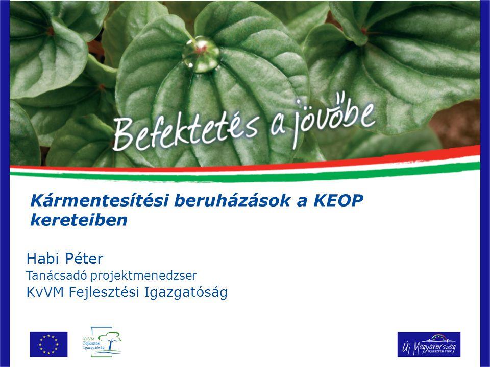 Habi Péter Tanácsadó projektmenedzser KvVM Fejlesztési Igazgatóság Kármentesítési beruházások a KEOP kereteiben