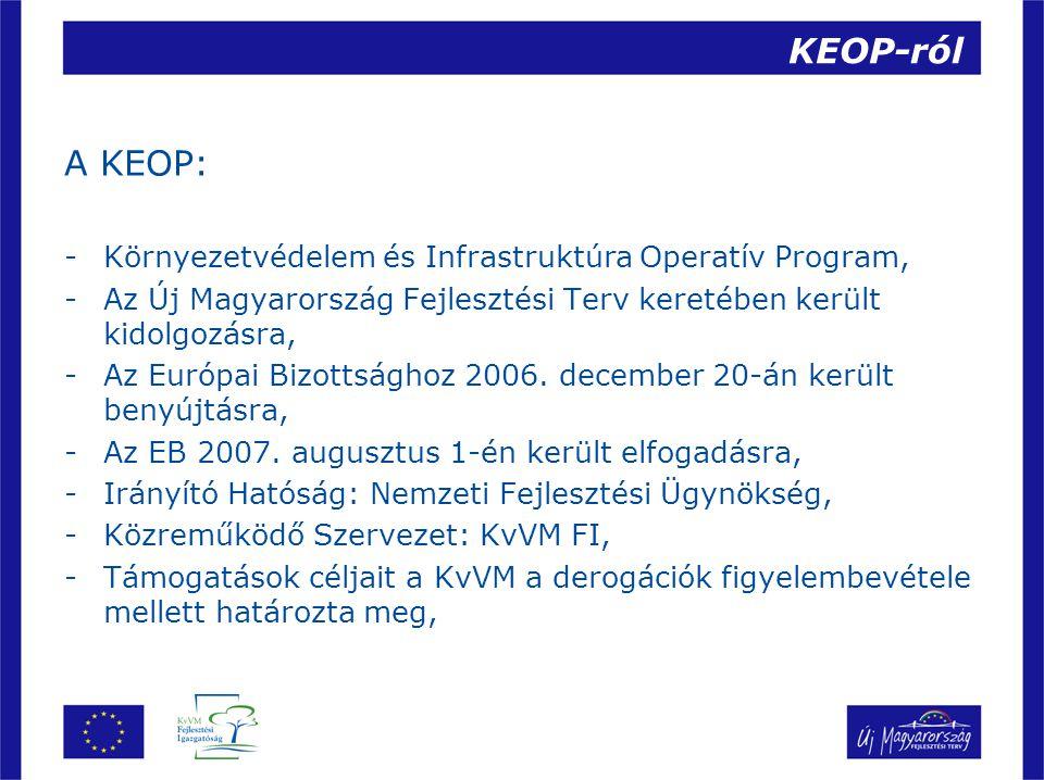 KEOP-ról A KEOP: -Környezetvédelem és Infrastruktúra Operatív Program, -Az Új Magyarország Fejlesztési Terv keretében került kidolgozásra, -Az Európai