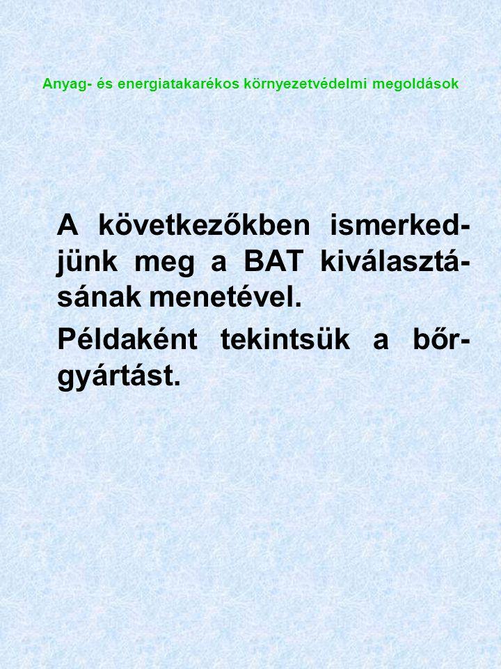Anyag- és energiatakarékos környezetvédelmi megoldások A következőkben ismerked- jünk meg a BAT kiválasztá- sának menetével.