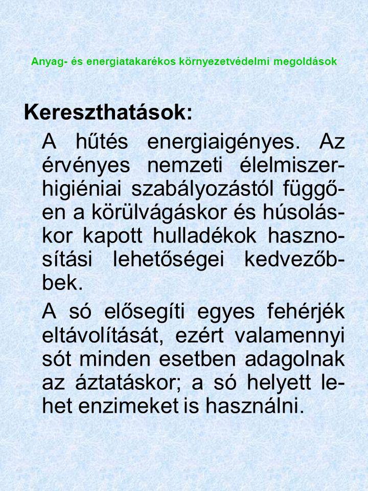 Anyag- és energiatakarékos környezetvédelmi megoldások Kereszthatások: A hűtés energiaigényes.