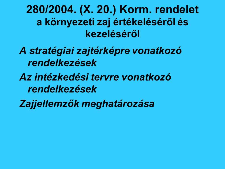 280/2004. (X. 20.) Korm. rendelet a környezeti zaj értékeléséről és kezeléséről A stratégiai zajtérképre vonatkozó rendelkezések Az intézkedési tervre