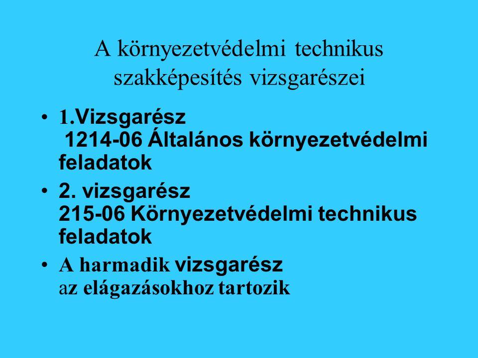 A környezetvédelmi technikus szakképesítés vizsgarészei 1.