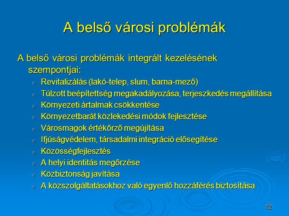 12 A belső városi problémák A belső városi problémák integrált kezelésének szempontjai:  Revitalizálás (lakó-telep, slum, barna-mező)  Túlzott beépí