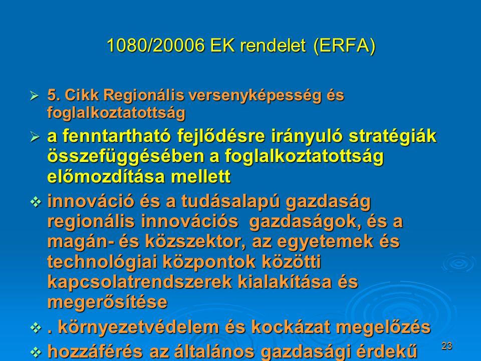 23 1080/20006 EK rendelet (ERFA)  5. Cikk Regionális versenyképesség és foglalkoztatottság  a fenntartható fejlődésre irányuló stratégiák összefüggé