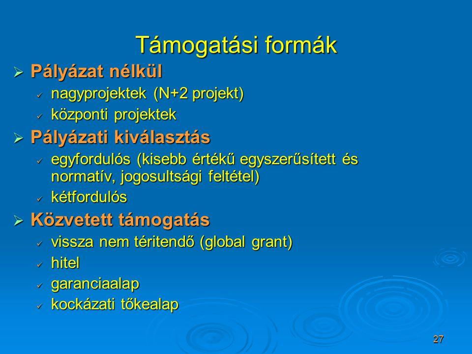 27 Támogatási formák  Pályázat nélkül nagyprojektek (N+2 projekt) nagyprojektek (N+2 projekt) központi projektek központi projektek  Pályázati kivál