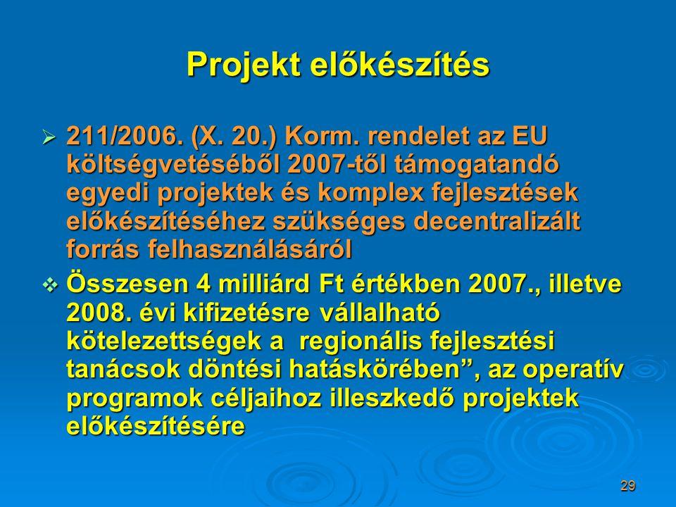 29 Projekt előkészítés  211/2006. (X. 20.) Korm. rendelet az EU költségvetéséből 2007-től támogatandó egyedi projektek és komplex fejlesztések előkés