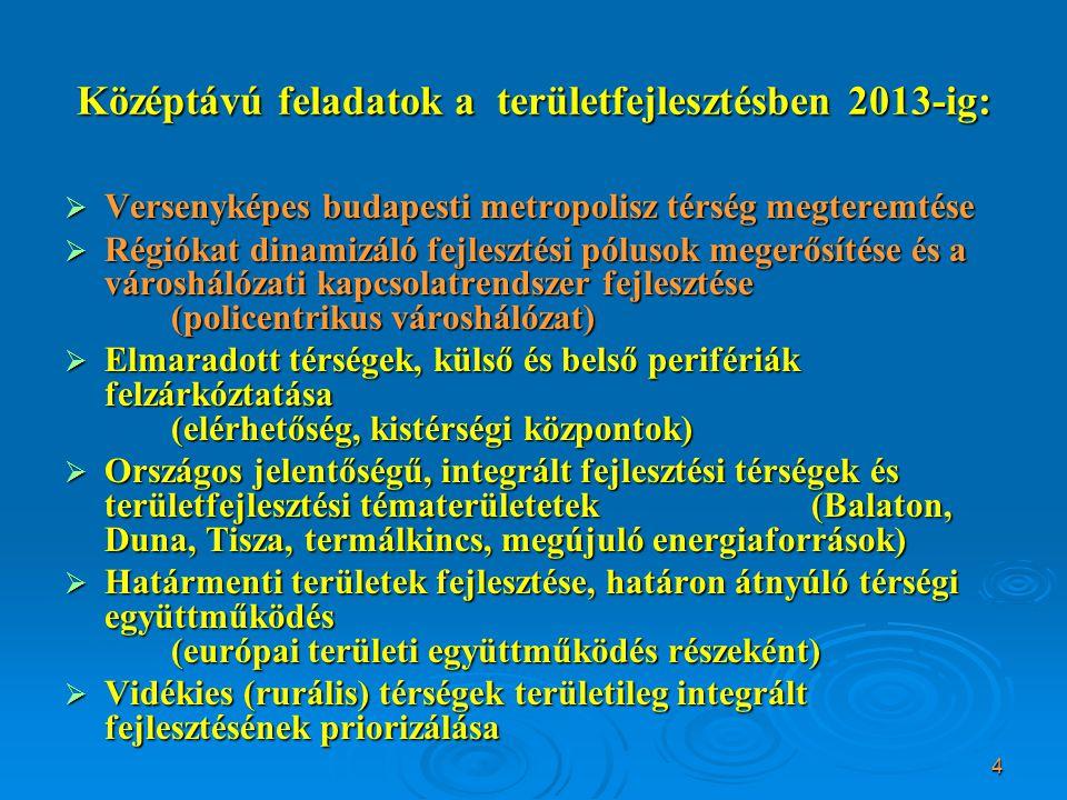 5 A magyar várospolitika célja Élhető városok dinamikus, fenntartható rendszere  Fő cél: együttműködő, kiegyensúlyozott, policentrikus városhálózat megteremtése  Ennek elemei:  főváros nemzetközi versenyképességének erősítése,  a regionális központok kijelölése és a fejlesztési pólusok támogatása,  A középvárosok térségszervező képességének növelése  kisvárosok szerepe a rurális, gyakran periférikus helyzetű, elmaradott térségek dinamizálásában  a városok és térségük közötti kapcsolatok erősítése  a városok egymás közötti kapcsolatrendszerének erősítése
