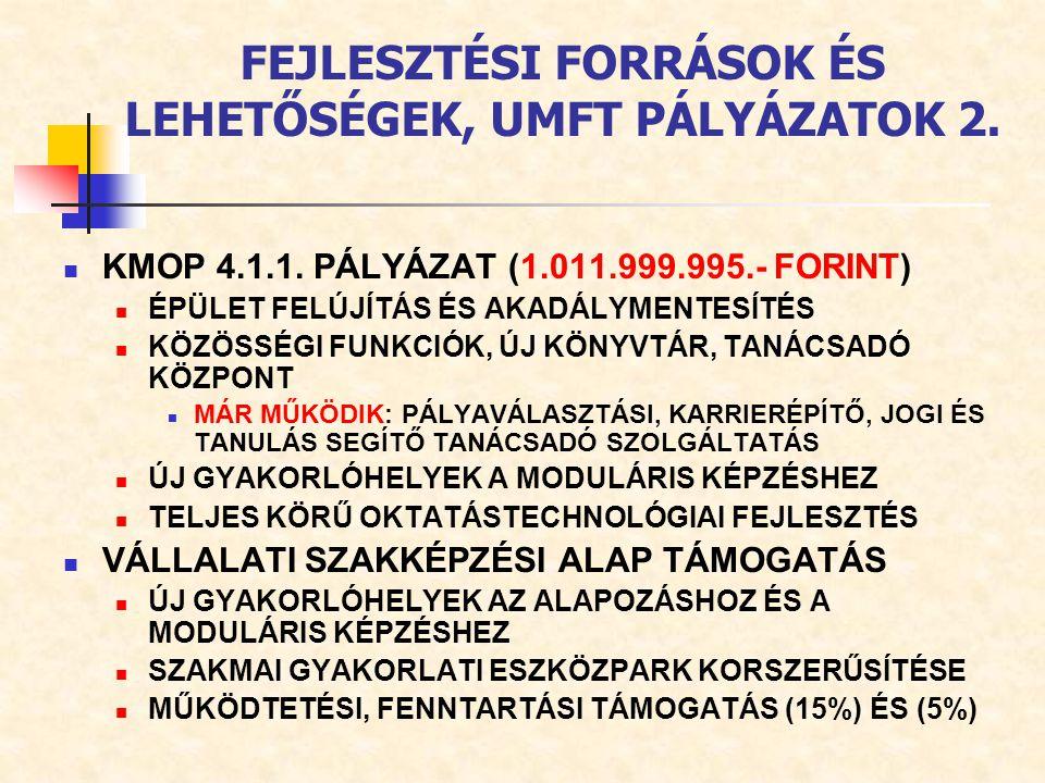 FEJLESZTÉSI FORRÁSOK ÉS LEHETŐSÉGEK, UMFT PÁLYÁZATOK 2.
