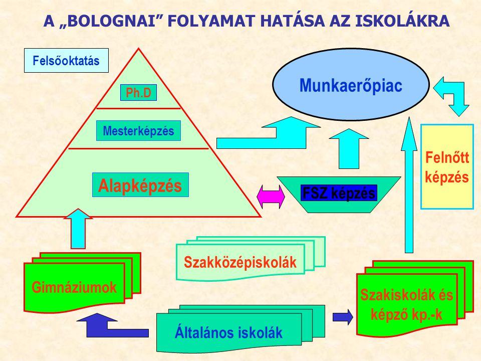 """A """"BOLOGNAI"""" FOLYAMAT HATÁSA AZ ISKOLÁKRA Felsőoktatás Alapképzés Mesterképzés Ph.D Munkaerőpiac FSZ képzés Felnőtt képzés Szakiskolák és képző kp.-k"""