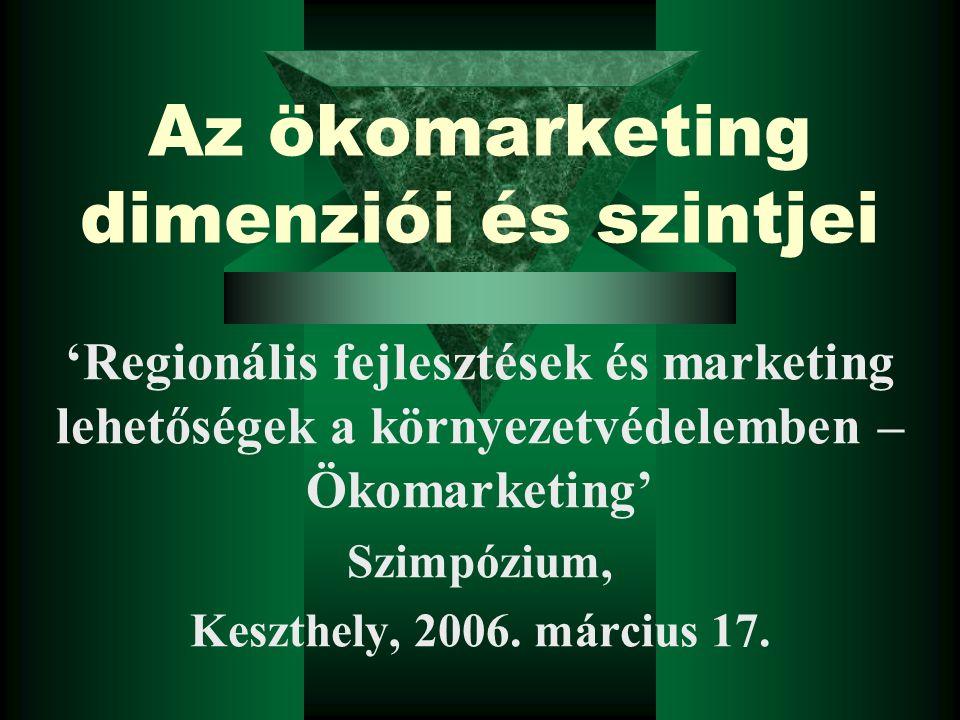 Az ökomarketing dimenziói és szintjei 'Regionális fejlesztések és marketing lehetőségek a környezetvédelemben – Ökomarketing' Szimpózium, Keszthely, 2