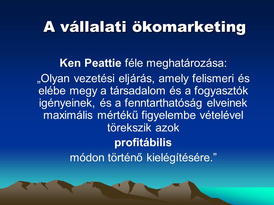"""A vállalati ökomarketing Ken Peattie féle meghatározása: """"Olyan vezetési eljárás, amely felismeri és elébe megy a társadalom és a fogyasztók igényeine"""