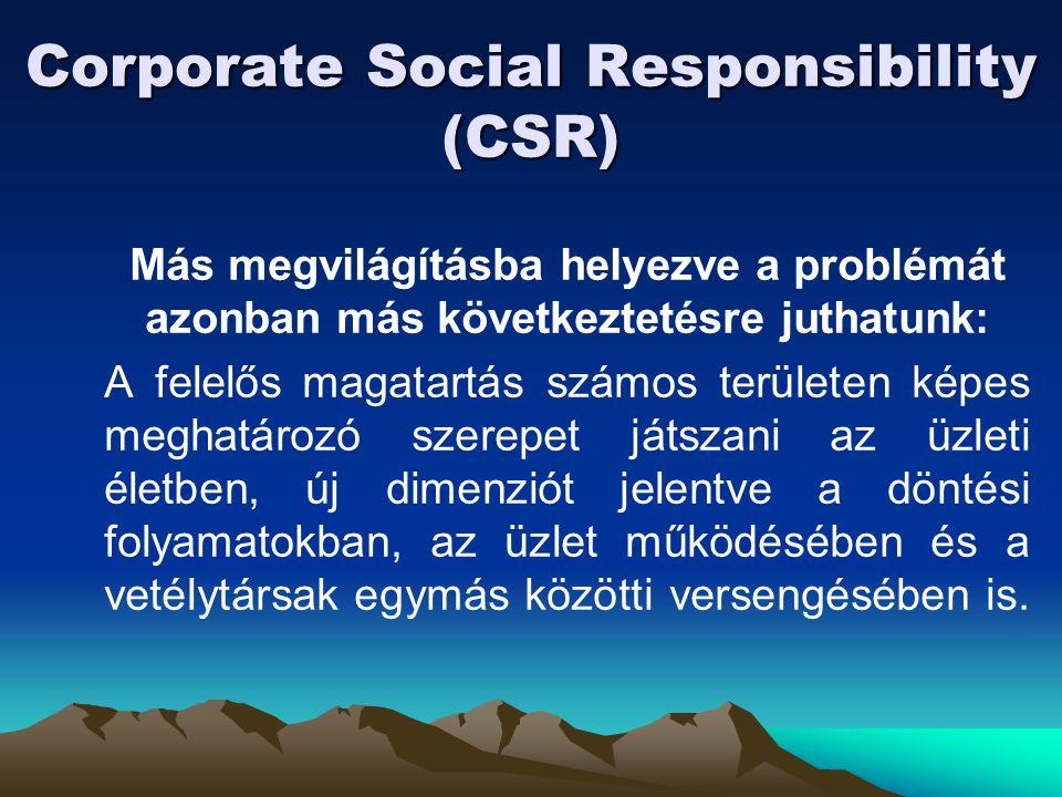 Corporate Social Responsibility (CSR) Más megvilágításba helyezve a problémát azonban más következtetésre juthatunk: A felelős magatartás számos terül