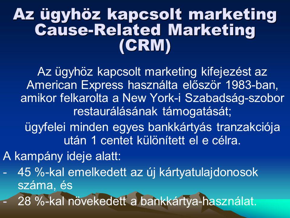 Az ügyhöz kapcsolt marketing Cause-Related Marketing (CRM) Az ügyhöz kapcsolt marketing kifejezést az American Express használta először 1983-ban, ami