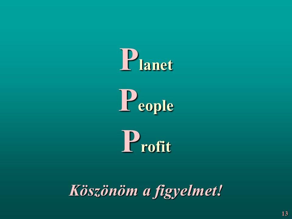 P lanet P eople P rofit Köszönöm a figyelmet! 13