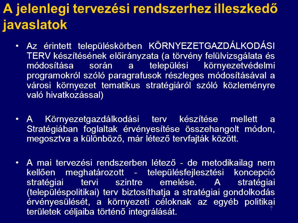 7 A jelenlegi tervezési rendszerhez illeszkedő javaslatok Az érintett településkörben KÖRNYEZETGAZDÁLKODÁSI TERV készítésének előirányzata (a törvény