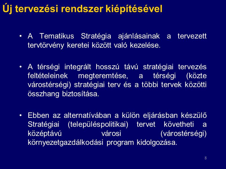 8 Új tervezési rendszer kiépítésével A Tematikus Stratégia ajánlásainak a tervezett tervtörvény keretei között való kezelése. A térségi integrált hoss