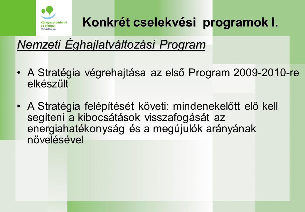 Konkrét cselekvési programok I. Nemzeti Éghajlatváltozási Program A Stratégia végrehajtása az első Program 2009-2010-re elkészült A Stratégia felépíté