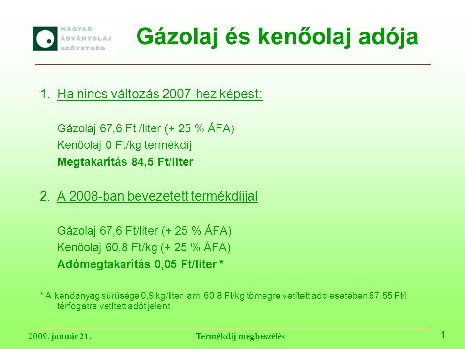 Gázolaj és kenőolaj adója 1.Ha nincs változás 2007-hez képest: Gázolaj 67,6 Ft /liter (+ 25 % ÁFA) Kenőolaj 0 Ft/kg termékdíj Megtakarítás 84,5 Ft/liter 2.A 2008-ban bevezetett termékdíjjal Gázolaj 67,6 Ft/liter (+ 25 % ÁFA) Kenőolaj 60,8 Ft/kg (+ 25 % ÁFA) Adómegtakarítás 0,05 Ft/liter * * A kenőanyag sűrűsége 0,9 kg/liter, ami 60,8 Ft/kg tömegre vetített adó esetében 67,55 Ft/l térfogatra vetített adót jelent 1 2009.