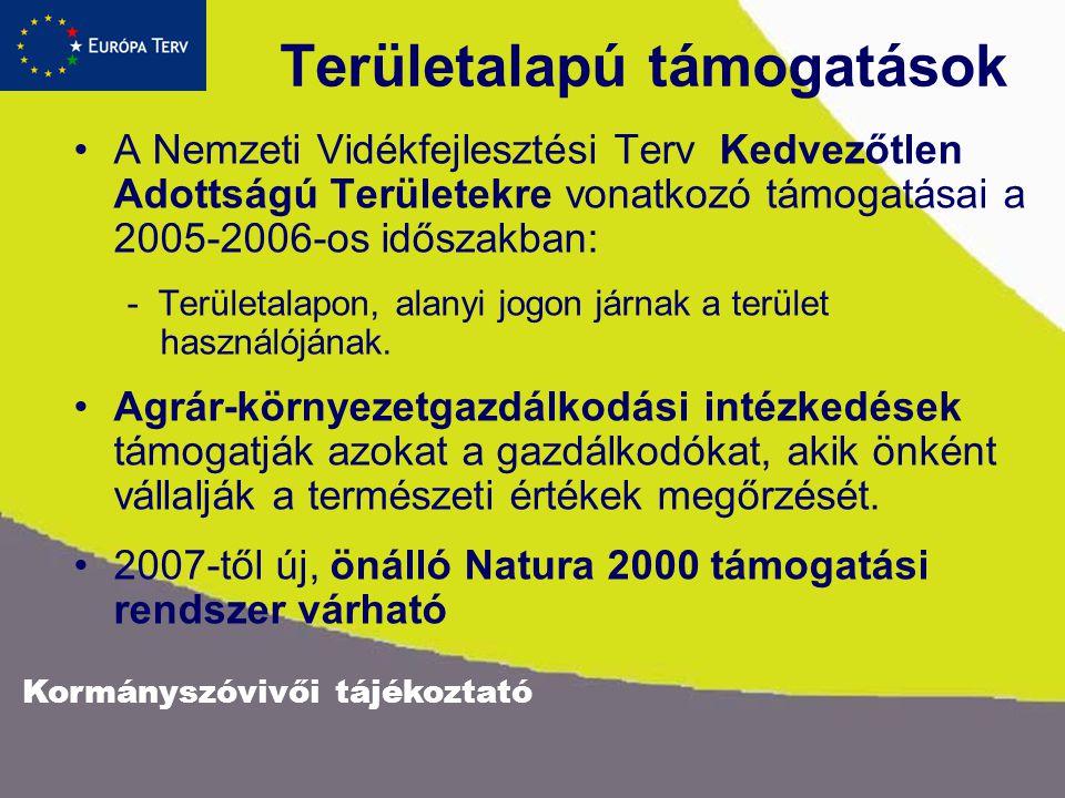 Területalapú támogatások A Nemzeti Vidékfejlesztési Terv Kedvezőtlen Adottságú Területekre vonatkozó támogatásai a 2005-2006-os időszakban: - Területalapon, alanyi jogon járnak a terület használójának.