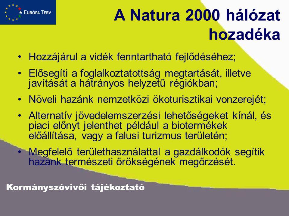 Kormányszóvivői tájékoztató A Natura 2000 hálózat hozadéka Hozzájárul a vidék fenntartható fejlődéséhez; Elősegíti a foglalkoztatottság megtartását, illetve javítását a hátrányos helyzetű régiókban; Növeli hazánk nemzetközi ökoturisztikai vonzerejét; Alternatív jövedelemszerzési lehetőségeket kínál, és piaci előnyt jelenthet például a biotermékek előállítása, vagy a falusi turizmus területén; Megfelelő területhasználattal a gazdálkodók segítik hazánk természeti örökségének megőrzését.